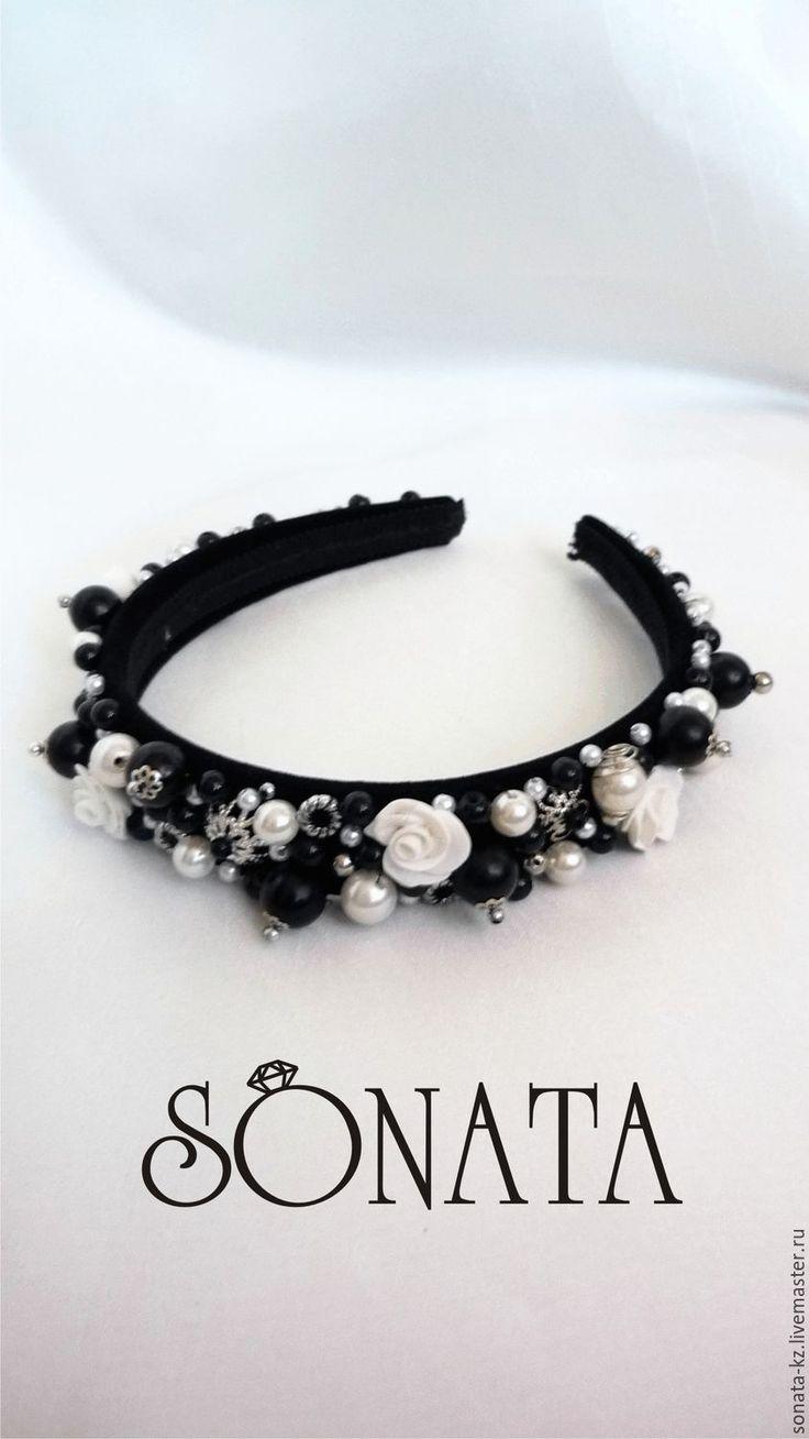 Купить Ободок-тиара в стиле D&G - чёрно-белый, ободок для волос, ободок в стиле дольче