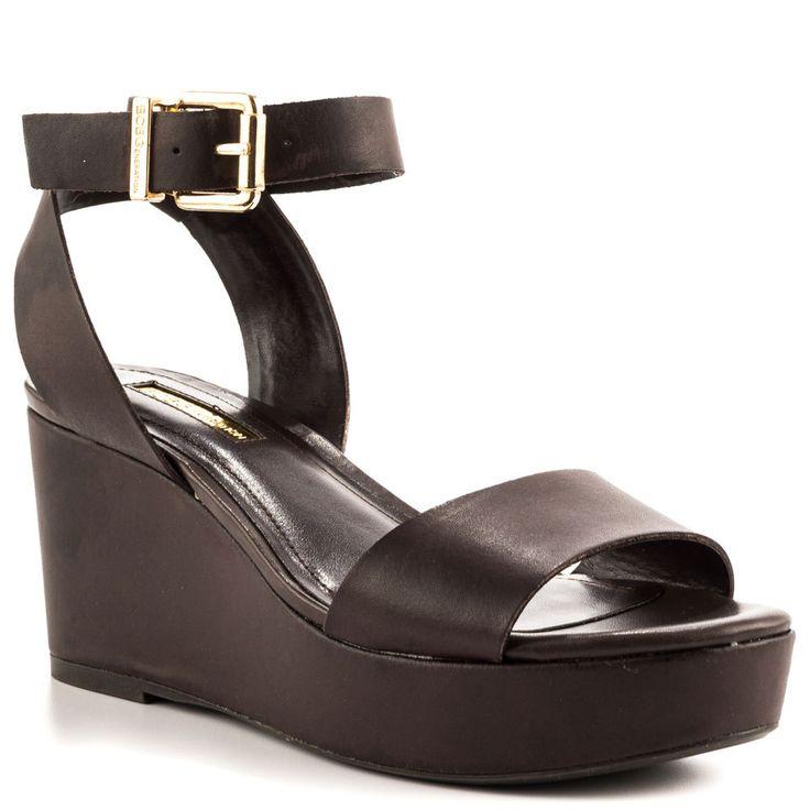 Ню Клин Сандалии Женщин 2015 Мягкой Кожи Пряжки Плюс Размер Клинья Открытым Носком Пятки Котенок Обувь US14 Женщины На Заказ