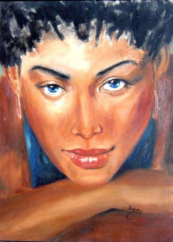 Ebony girl black African American woman by jagartist on Etsy, $375.95