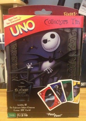 DISNEY THE NIGHTMARE BEFORE CHRISTMAS UNO GAME IN COLLECTORS TIN ~ BRAND NEW!!