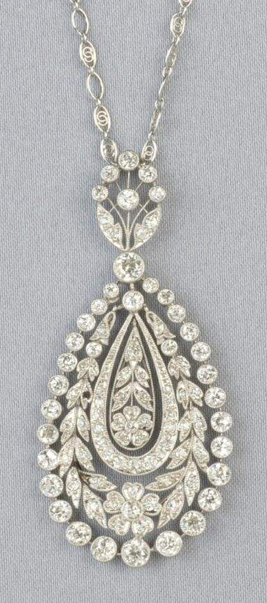 Art Deco Platinum and Diamond Pendant, set throughout with old European- and single-cut diamonds, approx. total wt. 2.30 cts., suspended from a fancy link chain, lg. 2 1/8 and 26 in.