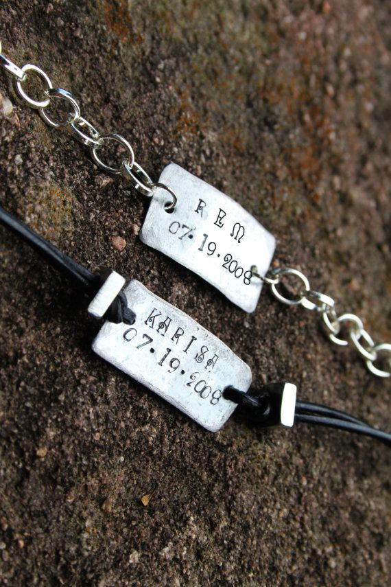 His Hers Name Bracelets With Date - Couples Bracelets - Personalized Bracelet on Etsy, $18.00
