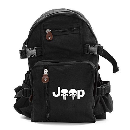 Jeep Wrangler Punisher Skull Army Sport Heavyweight Canvas Backpack Bag in Black #Jeep #Backpack