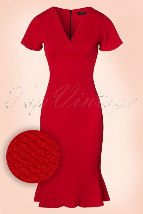 Vintage Chic for TopVintage -  50s Peggy Waterfall Pencil Dress in Red