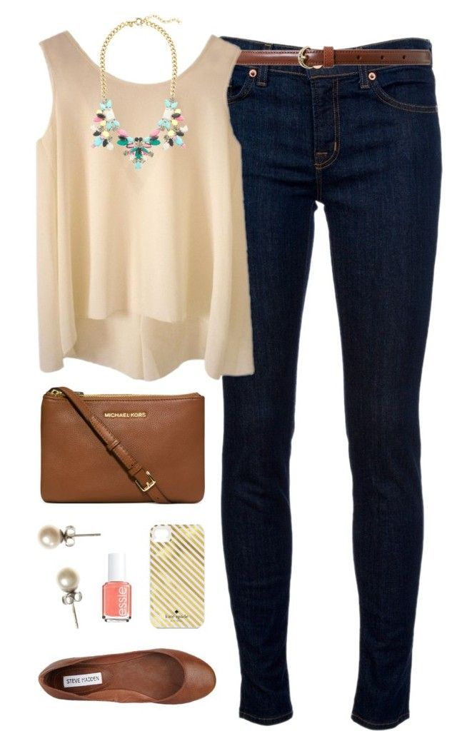 """Neutral"" by classically-preppy ❤ liked on Polyvore featuring J Brand, Lauren Ralph Lauren, J.Crew, Steve Madden, Michael Kors, Kate Spade and Essie"