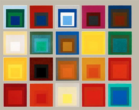 Josef Albers' colour field paintings (Homage to the Square Ascending) http://www.elledecor.com/interior-design-blogs/i_design/color_genius_josef_albers