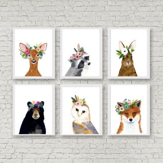 Woodland animals print set, Set of 6 Prints, racoon, owl, fox, deer, rabbit, bear, woodland nursery set, nursery print set