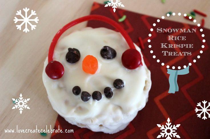 Winter Rice Krispie Snowman Treats - Love Create Celebrate
