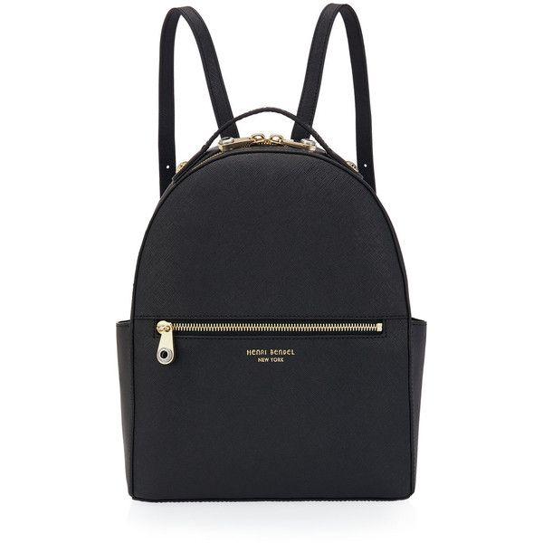 Henri Bendel West 57th Backpack (£195) ❤ liked on Polyvore featuring bags, backpacks, zipper bag, handle bag, rucksack bag, zip handle bags and zip bags