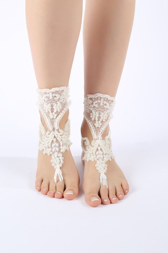 Free Ship ivory lace sandals laceBarefoot by ByMiracleBridal
