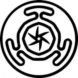 Hectates Wheel    This symbol represents the three aspects of the goddess, maiden, mother and crone. In Greek legend, Hectate was the guardian of the crossroads before she evolved into a goddess of magic and sorcery.    The wheel is used to symbolise the power of knowledge and life.