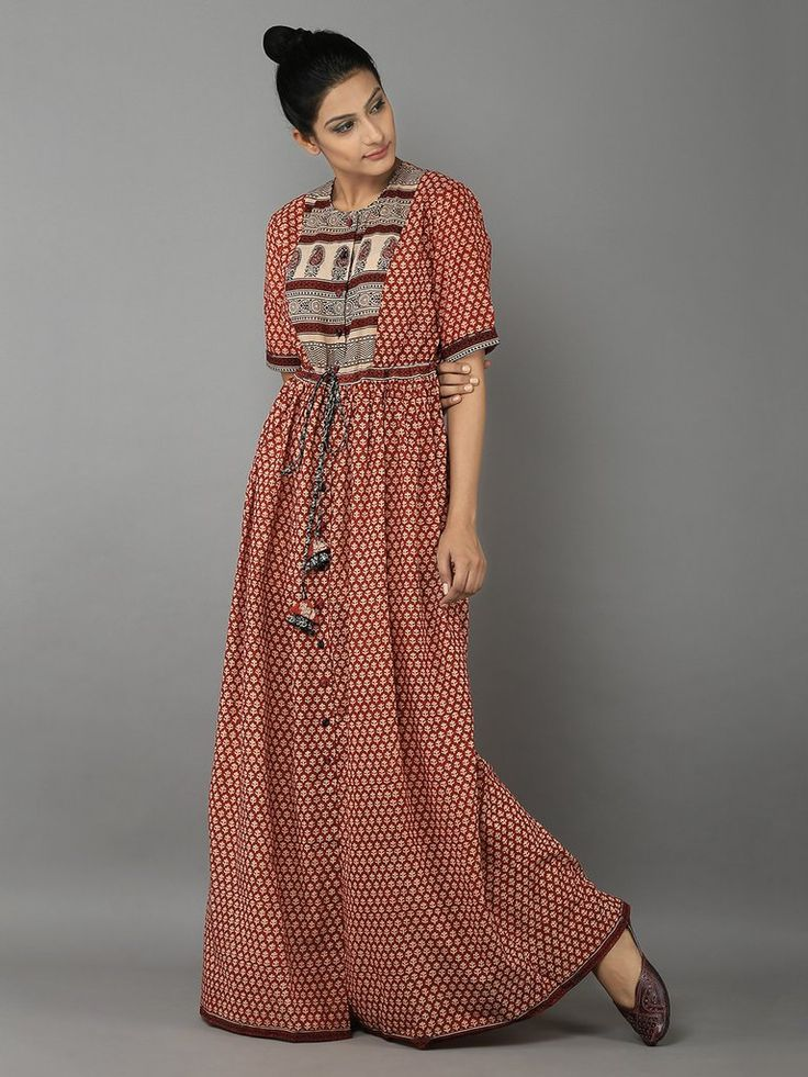 Black Red Cotton Maxi Dress