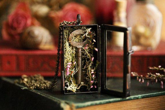 Shadow box necklace  skeleton key pendant  by RubyRobinBoutique