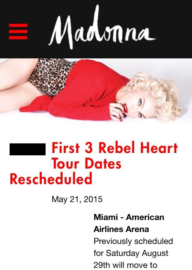 Madonna's First 3 Rebel Heart Tour Dates Rescheduled.