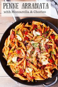 Penne Arrabiata with Mozzarella and Chorizo - a delicious twist on the classic!