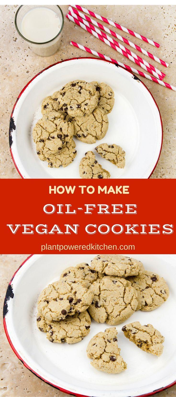 Learn Dreena's expert tips to make delicious oil-free vegan cookies! Applesauce is not the answer - get the tricks to make your oil-free cookies a hit! plantpoweredkitchen.com