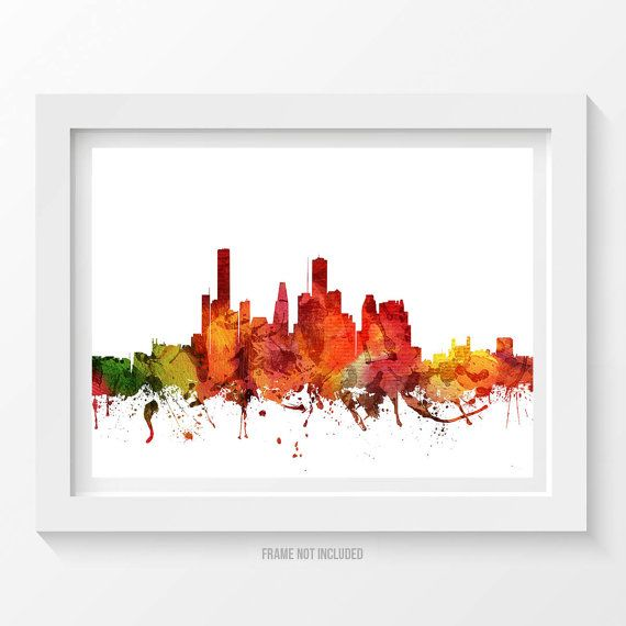 Houston Poster Houston Skyline Houston Cityscape by Agedpixel