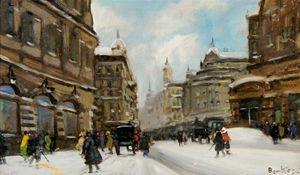 Winter Street Scene - (Antal Berkes)