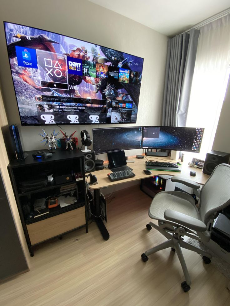 Home Office Setup, Home Office Design, House Design, Computer Gaming Room, Gaming Room Setup, Computer Programming, Gamer Bedroom, Bedroom Setup, Small Game Rooms