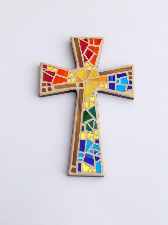 "Mosaic Wall Cross, Metallic Brown with Rainbow Glass, 12"" x 8"", Handmade Stained Glass Mosaic Design by GreenBananaMosaicCo"