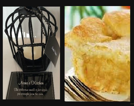 Nana's Kitchen.  The delicious smell of hot apple pie straight from the oven. Triple scented soy tealight candles, in attractive birdcage. Perfect for that special gift for family or friends, or to evoke wonderful memories for yourself $US10.86