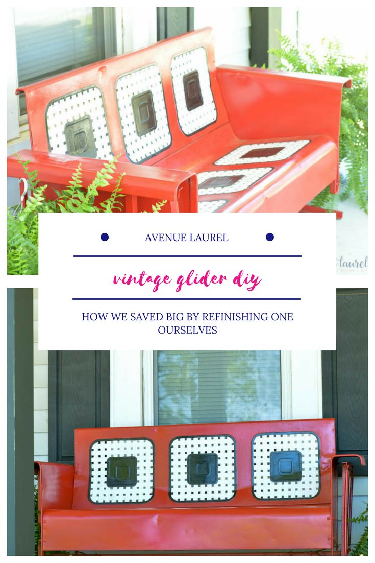 You won't believe the makeover this old vintage metal glider got!  The red and black paint colors complement the farmhouse front porch perfectly.  If you love antique or vintage style outdoor furniture, you have to check this out.  Includes before and after pictures, plus an easy trick for perfect paint lines.
