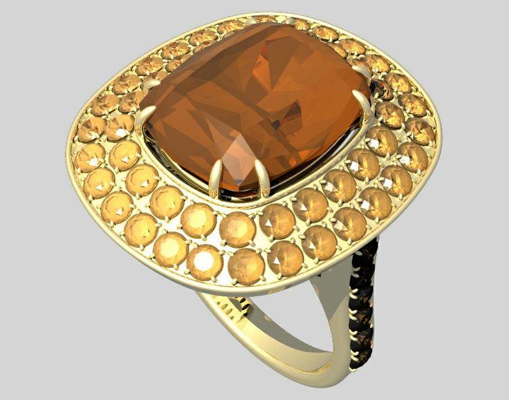 Cushion brown diamond