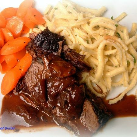 Beef Brisket Braised In Red Wine, Wrapped In Bacon Recipe — Dishmaps