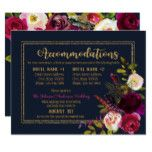 Boho Fall Floral Bouquet Navy Accommodations Card