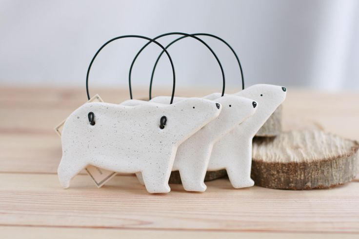 Polar Bear Salt Dough Ornaments, Home decorations, Tree decorations, Rustic bear wall decor, Winter animals, Christmas gift, Party favors