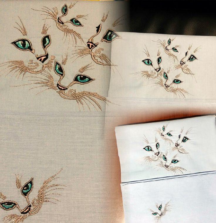 Lenzuolo per maschietto gatti con occhi azzurri! Embroidery Library