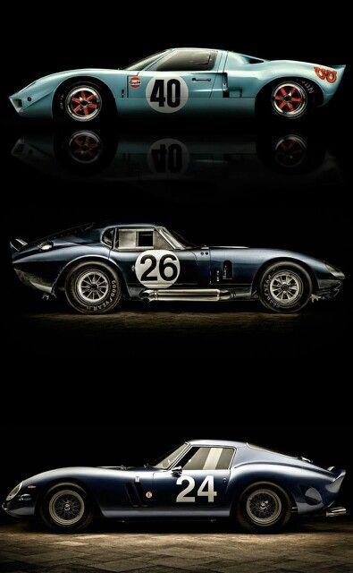 Ford GT40 Mark I; Shelby Daytona, and Ferrari 250 GTO