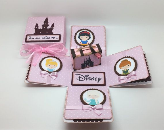 You are going to Disney  - Surprise trip - Travel Theme - Suitcase exploding box card - pink