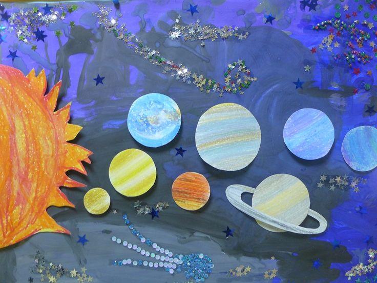 Солнечная система. Аппликация+рисование. Дети 4-7 лет. коллективная работа.