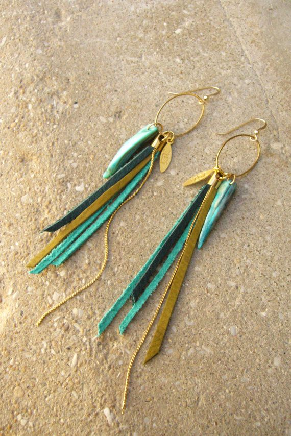 Leather Fringes Earrings, Turquoise leather Earrings, Leather Tassel Long Earrings, Boho Chic Earrings, Bird of Paradise Earrings