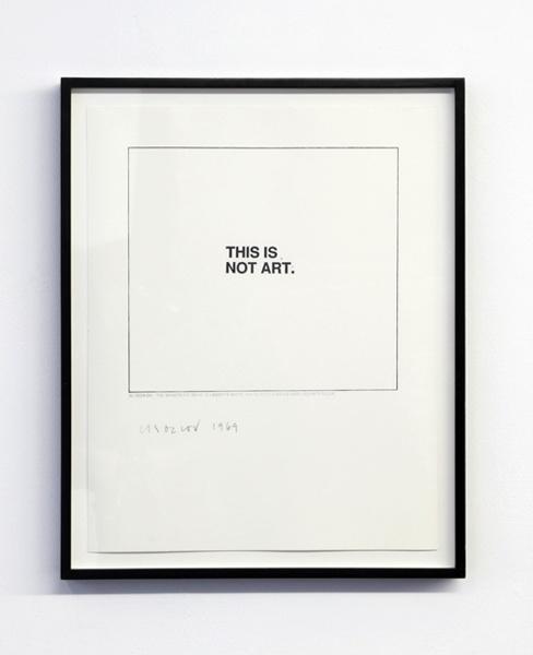 Christine Kozlov.  THIS IS NOT ART  1969
