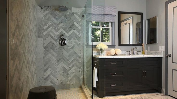 Bathroom Floor To Roof Charcoal Tiles With A Black: Seamless Glass Shower