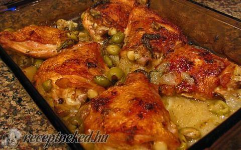 Mediterrán tepsis csirke recept fotóval