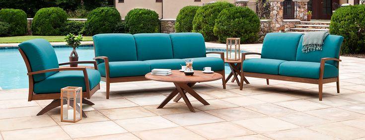 Jensen Leisure dark wood outdoor sofa & chair