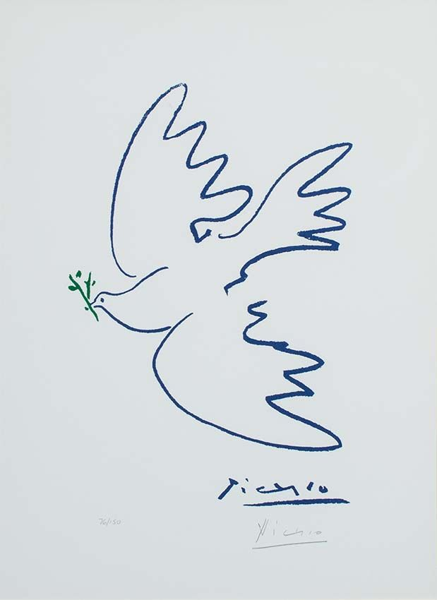 Picasso Lithograph Signed, Dove of Peace, c. 1955-1960