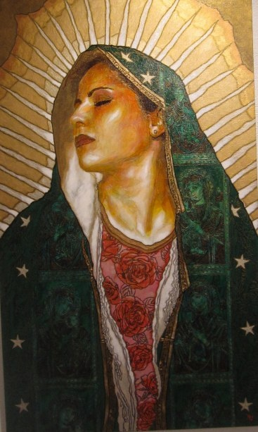 """Virgen de Guadalupe"" by George Yepes, 2009.: Blessed Mothers, Vibes Artists, Virgin Of Guadalupe, Strong Women, George Yepes, Icons, Virgin Mary, Guadalupe 2009, Artists George"