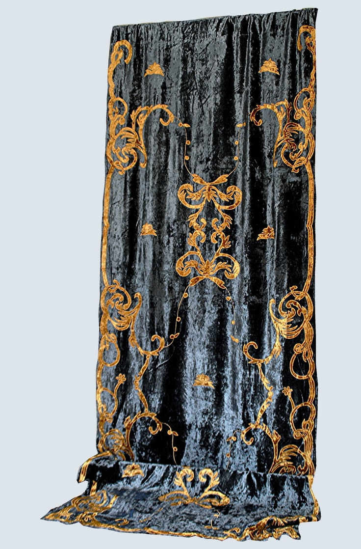 Kelly green velvet curtains - Debage Inc Tudor Applique Velvet Curtain In Blue And Gold