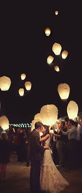 I've always wanted a lantern send-off, but i like the idea of wedding wish lanterns even more! Adds a personal and sweet touch. Guests write their wishes for the couple on them and then release them into the air at the end of the night. Best wishes for the marriage and it's beautiful. Doing this!