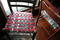 How to make chair seats from old neck ties. (Plus, at the very end of the article is a picture of a beautiful dress made of ties)