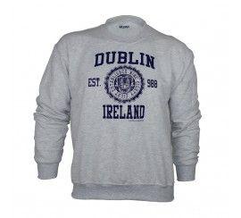 Pullover Sweater Varsity Style Dublin Print, Ash Grey Colour