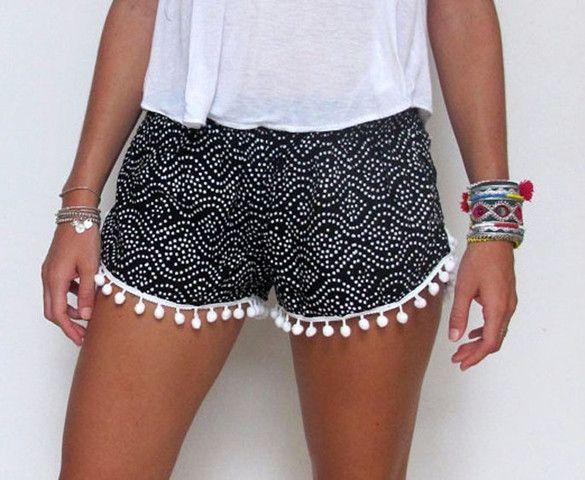 Summer Fashion Casual Sexy Women Dot Print Elastic Waist Fringe Beach Hot Shorts