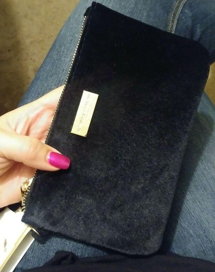 New Adrienne Vittadini black velvet wallet phone charger wristlet w/ RFID  #AdrienneVittadini #Wristlet