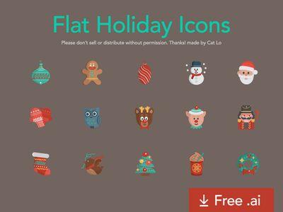Freebie Flat Holiday Icons #icon,#ai