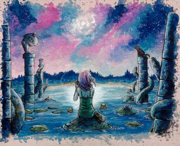 Ancient Lullaby #AdamScythe #watercolor #paintingTimelapse
