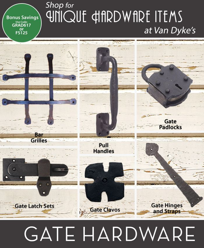 Improve your backyard this summer with unique gate hardware from Van Dyke's! Shop at VanDykes.com now!